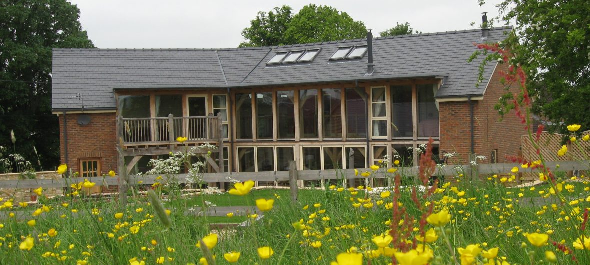 Renovated house with flowers in the foreground