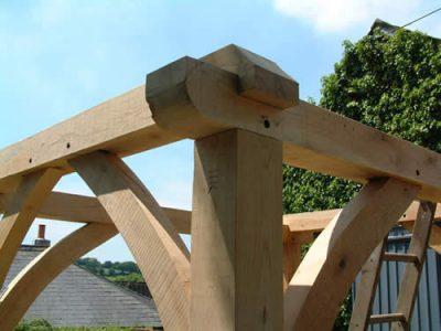 Corner joint in timber framed house